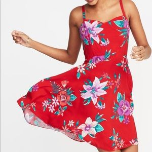 Old Navy fit & flare Red Floral Cami Summer Dress